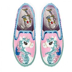 "Pink magical glittery unicorn slip on flat trainer shoes ""Misty Reins"""