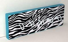 Aqua Blue with Black and White Zebra Print Key Chain Hook/Necklace Hanger/Jewelry Organizer/Key Chains/Aqua Blue and Zebra Decor/Girls Room