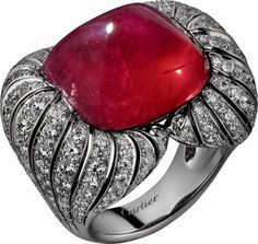 CARTIER. Ring - platinum, one 35.52-carat cabochon-cut Tanzanian ruby, brilliant-cut diamonds. #Cartier #CartierRoyal #2014 #HauteJoaillerie #HighJewellery #FineJewelry #Ruby #Diamond