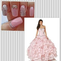 Pink Sleeping Beauty Disney Royal Ball Dress with Pink Nails = Pretty Quince Dresses, 15 Dresses, Ball Dresses, Ball Gowns, Sweet 16 Nails, Hispanic Girls, Nails Plus, Happy Nails, Disney Sleeping Beauty