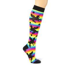 How much fun are these rainbow-striped unicorn knee socks? My Socks, Knee Socks, Girls Accessories, Jewelry Accessories, Unicorn Outfit, Unicorn Clothes, Fashion Socks, Latest Trends, Fashion Jewelry