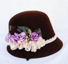 Sale / Womens cloche felted wool  hat brown hat by dantiehandmade, $45.00