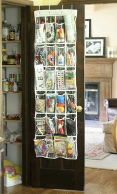 I can't wait to help organize my grand baby's room - this is a good idea for odds and ends in his closet.