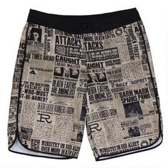 These Harry Potter swim trunks feature an allover print drawn from the wizarding newspaper, The Daily Prophet.  These swim trunks feature a drawstring and hook and loop closure at the waistband. 100% Polyester. Machine wash cold with like colors. Please see detailed information about returns and exchanges for undergarments in the Shipping & Returns section.