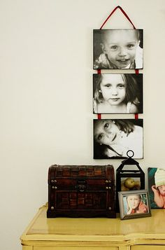 Mod Podge Photos to canvas then string canvas together with ribbons -- could do this for each family under adults pics for Mom's wall so you'd know which Grandkid went with which kid.  Easier to add new kids as they are born too.