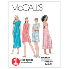 Misses Dress In 2 Lengths McCalls Pattern 6102.