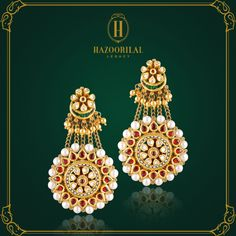 #TheGoldenEssence : For the sangeet, Turn heads this #WeddingSeason.  #HazoorilalLegacy #Hazoorilal #Jewelry #KundanPolki #gold #Earrrings