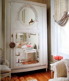 The home of Annie Brahler from Euro Trash - mirrored cabinet