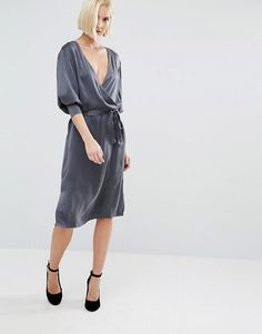 Selected | Selected Alba Long Sleeve Silk Wrap Dress