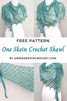 A One Skein Shawl Crochet Pattern with a lacy design, for a narrow asymmetric shawl. Perfect for that precious skein of Indie Dyed yarn. One Skein Crochet, Crochet Scarves, Crochet Hooks, Free Crochet, Crochet Granny, Crochet Prayer Shawls, Crochet Shawls And Wraps, Shawl Patterns, Crochet Stitches Patterns