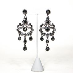 Hey, I found this really awesome Etsy listing at https://www.etsy.com/listing/256548536/rhinestone-chandelier-earrings-grey