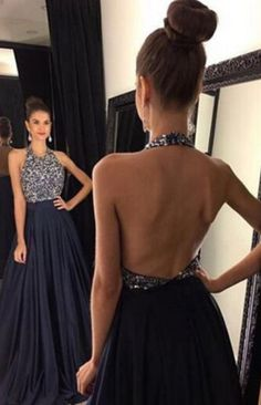 #black prom dress #backless prom dress #halter prom dress #long Prom Dress #dresses for women #women's prom dresses