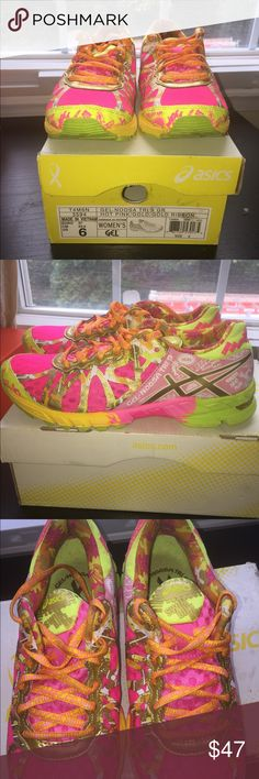 Asics Gel-Noosa Tri-9 running shoes Asics Gel-Noosa Tri-9 running shoes. Colors: HOT PINK/GOLD/GOLD RIBBON.  SIZE 6. Pediatric cancer awareness ribbon edition Asics Shoes Sneakers