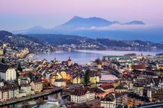 Aerial view of Lucerne, Switzerland Switzerland Tour, Switzerland Vacation, Lucerne Switzerland, Post Hotel, Croatia Travel Guide, Open Air, Christmas Town, Vacation Deals, New Travel