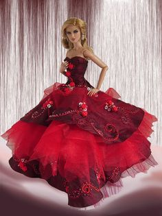 Lady in red Barbie Wedding Dress, Barbie Gowns, Barbie Dress, Barbie Clothes, Costume Collection, Barbie Collection, Fashion Dolls, Fashion Show, Red Gowns