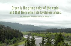 """""""Green is the prime color of the world, and that from which its loveliness arises.""""  // Pedro Calderón de la Barca"""