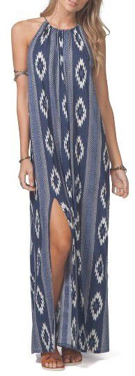Women's Rip Curl Peace Maxi Dress Indigo Geo print with cool southwestern style long dress slit above knee {afflink}