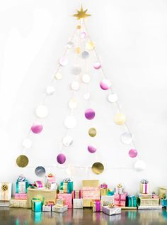 This metallic garland Christmas wall tree is so glam.