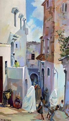 Marcel BUSSON Rue animée. Huile sur toile, signée en bas à gauche. 54,5