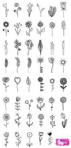 Doodle Blumen zur Inspiration