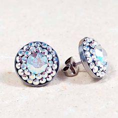 12mm Swarovski Crystal Steel Earrings - Surgical Steel Jewelry - crystalAB by SteelJewelryShop on Etsy