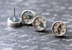 Working Compass Earrings Surgical Steel by JewelryFineAndDandy