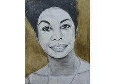 Portret van Nina Simone, gemaakt door Zus van Zand