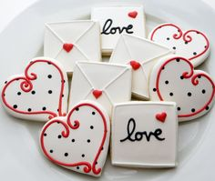 Love letter and heart cookie favors decorated
