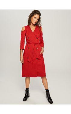 Dwurzędowa sukienka cold shoulder, Sukienki, kombinezony, czerwony, RESERVED