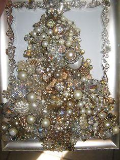 Vintage Antique Jewelry Rhinestones Christmas Tree Picture Frame Jeweled | eBay