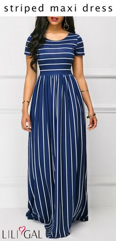 c82fa50c119 Navy High Waist Stripe Print Short Sleeve Maxi Dress  liligal  dresses   womenswear   · Plus Size ...