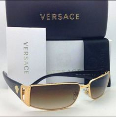 Versace VE2021 Sunglasses. Versace Sunglasses, style VE2021 is a lightweight and durable rectangular metal frame. Adjustable nose pads and adjustable wire core plastic temples ensure extreme comfort. | eBay!