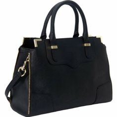 Rebecca Minkoff Saffiano Amorous Satchel Top Handle Bag,Black,One Size