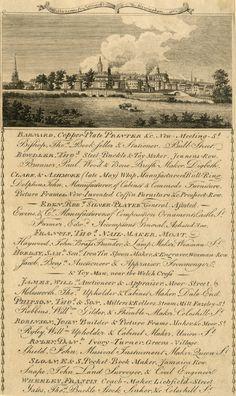 DRAFT List of businesses in Birmingham with a view of the town. First Fleet, Handwritting, Georgian Era, Regency Era, King George, Cursive, British Museum, Paper Crafting, Birmingham