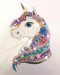 Amazing Sparkling mixed media art Rainbow Unicorn.
