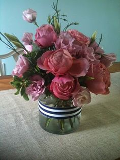 Azalea Floral Design - Preppy nautical flowers for a mystic wedding. Garden roses.