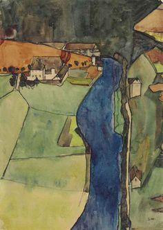 Stadt am blauen Fluss (Krumau) 1910 Egon Schiele