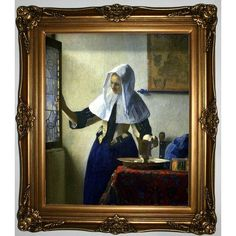 Historic Art Gallery 'Young women with a water pitcher' by Johannes Vermeer Framed Painting Print Size: