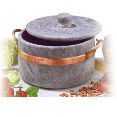 Casseruola in Pietra Ollare Ø 16 2 manici con coperchio con bordo in rame Ideale per cucinare: stufati, brasati, gli arrosti,