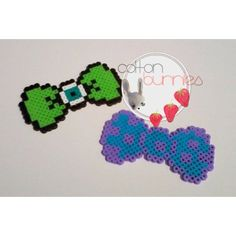 Mike and Sulley Monsters Inc bows perler beads by cottonbunnies