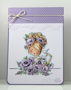Stamping Bella, Fiona Loves Flowers stamp. SU Whisper White card stock. Kaisercraft Fairy Dust dsp. String. MS border punch. Copics.