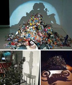 "with Trash Art:  The cliche is that ""one man's trash is another man's treasure"" is strangely more true than most realize...it could turn out to be in the form of ""artistic upcycling""."