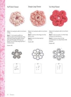 Crochet flowers i find so many so they get there own board Scrap Yarn Crochet, Crochet Bows, Crochet Flower Patterns, Crochet Doll Pattern, Crochet Diagram, Crochet Motif, Irish Crochet, Crochet Designs, Crochet Flowers