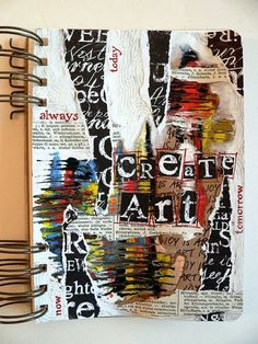 "Von Pappe II: Art Journaling - ""Create Art Every Day"" Art Journal Pages, Art Journals, Art Journal Covers, Journal Ideas, Journal Prompts, Art Pages, Gcse Art Sketchbook, Sketchbook Cover, A Level Textiles Sketchbook"