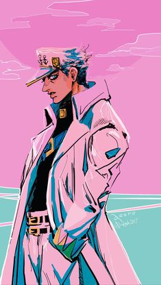 Jotaro Kujo in the Ocean Jojo's Bizarre Adventure, Jojo's Adventure, Jojo Bizarre, Bizarre Art, Animes Wallpapers, Cute Wallpapers, Dragon Rey, Anime Manga, Anime Art