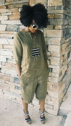 .The outfit is so cute! Just a patch of mudcloth.
