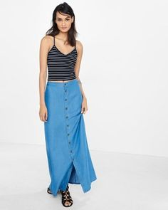 high rise button front a-line maxi skirt from EXPRESS