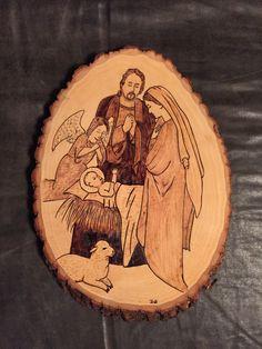 Nativity with angel and lamb wood burnt art Nativity Ornaments, Nativity Scenes, Christmas Nativity, Rustic Christmas, Christmas Crafts, Xmas, Wood Burning Crafts, Wood Burning Patterns, Wood Burning Art