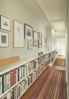Unique Bookshelves, Bookshelf Design, Living Room Bookshelves, Low Bookcase, Bookshelf Ideas, Bookcases, Home Libraries, Hallway Decorating, Entryway Decor