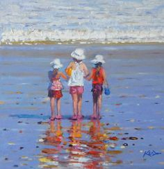 """Calm Before the Storm"": Ken Devine. This reminds me of a Marie Cassatt painting I had in my room as a child. Mary Cassatt Art, Jean Leon, Painting People, Paintings I Love, Beach Scenes, Beach Art, Art Plastique, Fine Art Gallery, Painting Inspiration"